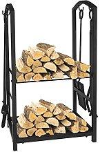 Firewood Log Rack, 4 Piece Fireplace Tool Sets,