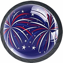 Fireworks 4 Pcs Cabinet Knobs Round Glass Drawer
