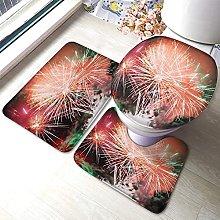 Fireworks Bathmat,Multi Coloured Fireworks 3 Piece