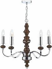 First Choice Lighting - Wyatt 5 Light Dark Wood