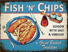 Fish'N' Chips Tin Metal Sign Retro Wall