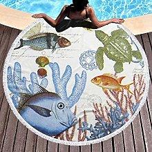Fish Printed Round Beach Towel Yoga Picnic Mat