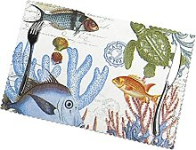 Fish Printing Placemats for Dining Table Table