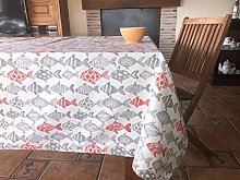 Fishes Printed Canvas Tablecloth 140 x 140 cm Red