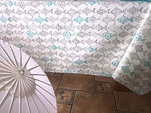 Fishes Printed Canvas Tablecloth 140 x 300 cm