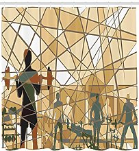 Fitness Shower Curtain Mosaic People in Gym Print