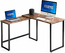 FITUEYES Computer Desk Rotatable 360°Wood Color