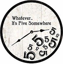 Five OClock Somewhere Clock Black and White 5