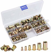 Fiyuer 200 Pcs Stainless Steel Rivet Nut Brass