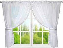FKL LB-248 Ready Made Voile Curtain with Ruffle