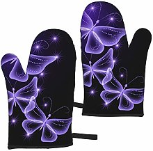 FKMEDOS Beautiful purple butterfly Oven Gloves,