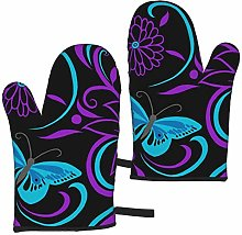FKMEDOS Purple butterfly and flower Oven Gloves,