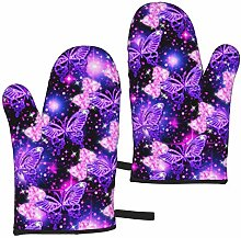 FKMEDOS purple cute butterfly print Oven Gloves,