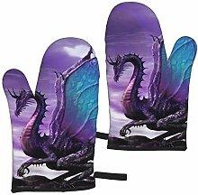 FKMEDOS Purple Dragon Oven Gloves, Heat Resistant