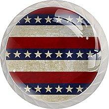 Flag Stars 4Pcs Cabinet Knobs Round Shape Pull
