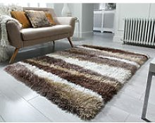Flair Rugs - Modern Deep Pile Quality Thick Very Soft Silky Shaggy Bronze Brown Rug Home Carpet in