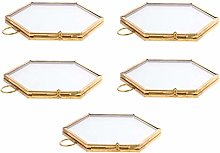 FLAMEER 5 Pcs Antique Gold Hexagon Brass and