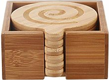 FLAMEER 6pcs Natural Bamboo Coasters with Holder
