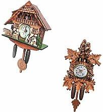 FLAMEER Set Of 2 Vintage Design Wooden Cuckoo