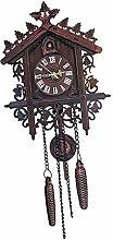 FLAMEER WALL CLOCK WOODEN CUCKOO BIRD TIME BELL
