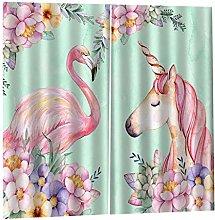 FLAMEER Window Curtains Flamingos And Unicorns,2