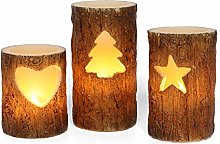 Flameless Christmas Candle with Timer Function, Battery Operated Pillar Candles with Birch Effect Finish, Warm White Flickering Light, Batteries Included - Set of 3