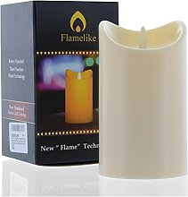 Flamelike candles - Flameless Candle with Timer. Non Wax. Unscented LED Moving Wick Flame. Battery Operated. Realistic. Best Flickering Action.