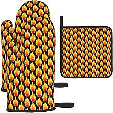 Flaming Black Oven Mitts and Pot Holders Insulated