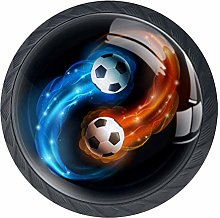 Flaming Soccer Football Cabinet Door Knobs Handles
