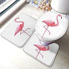 Flamingo Bathmat,Summer Pink Flamingo 3 Piece