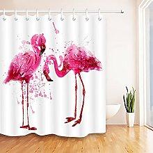 Flamingo Birds Print Shower Curtain Bathroom