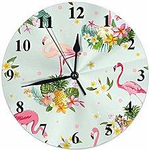 Flamingo Clock Tropical Pineapple Flamingos Flower