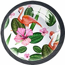 Flamingo Green Leaves 4 Pieces Crystal Glass