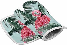 Flamingo Green Palm Heat Resistant Oven Gloves