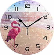 Flamingo in Beach Sunset Wall Clock Quartz Analog