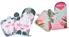 Flamingo Kitchen Insulated Gloves and Pad Set:
