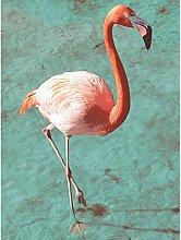 Flamingo On Blue Large Wall Art Print Canvas