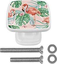 Flamingo & Palm Leaves Crystal Cabinet Knob