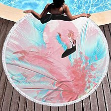 Flamingo Printed Round Beach Towel Yoga Picnic Mat