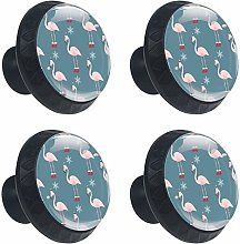 Flamingo with Christmas Hat Pattern Cabinets Knobs