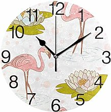 Flamingo with Water Lily Round Wall Clock, Silent
