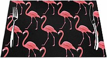 Flamingos Table Placemats Washable Non-slip Heat