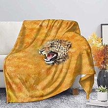 Flannel Fleece Blanket,Yellow 3D Animal Cheetah