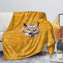 Flannel Fleece Blanket,Yellow 3D Animal Owl Fleece