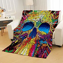 Flannel Fleece Throw Blankets Abstract Art Skull