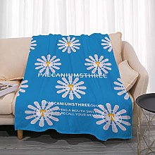 Flannel Fleece Throw Blankets Blue Daisy Flowers