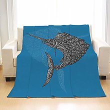 Flannel Fleece Throw Blankets Blue Sailfish Super