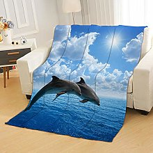 Flannel Fleece Throw Blankets Blue Sky Sea Dolphin