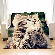 Flannel Fleece Throw Blankets Cute Kitten Super
