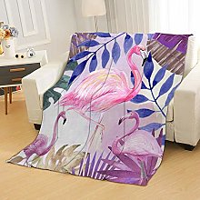 Flannel Fleece Throw Blankets Flamingo Leaves